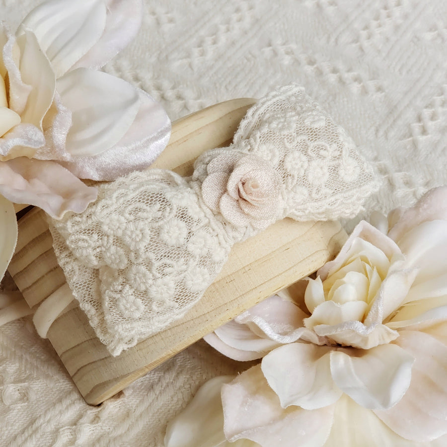 Beautiful Vintage Rose Embroidered Lace Bow Headband