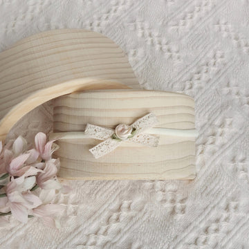 Little Sweet Natural Cotton Lace Bow Headband with a Cream Rose