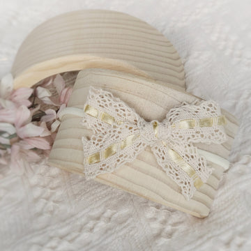 Larger Sweet Natural Cotton Lace Bow Headband with Satin Ribbon