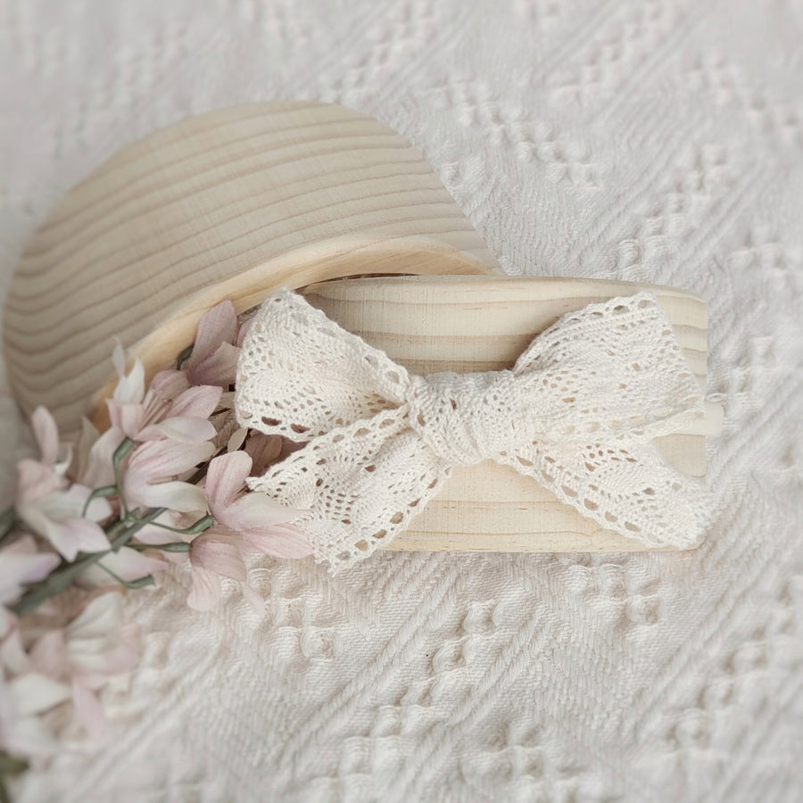 Larger Sweet Natural Cotton Lace Bow Headband