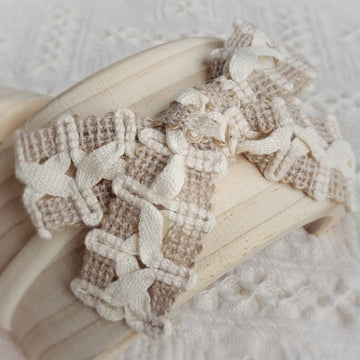 Beautiful Natural Burlap & Cotton Woven Lace Headband
