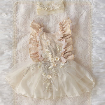 Shimmering Rose Tutu in Rose Gold & Ivory