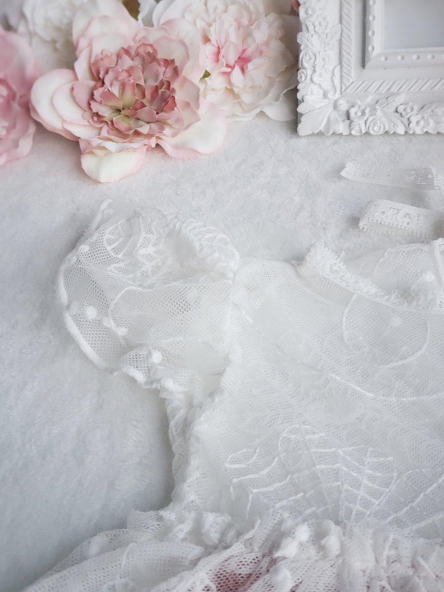 The Adaline Fine White Lace & Rose Pink Soft Knitted Dress & Bonnet Set