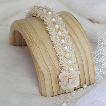 Vintage inspired Ivory Pearl Tufted Headband Tie Back