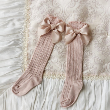 Sweet Satin Bow Over-the-Knee Socks for Baby & Toddler - Dusty Pink