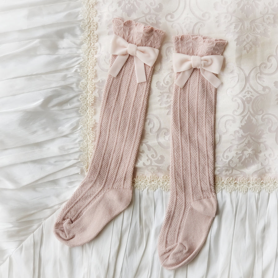 Sweet Velvet Bow Over-the-Knee Socks for Baby & Toddler - Dusty Pink