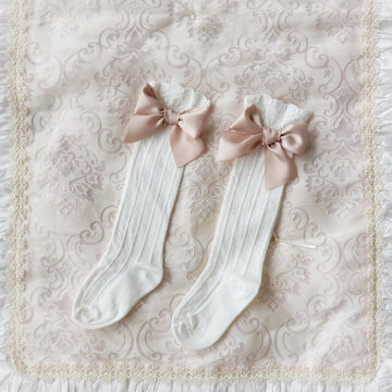 Sweet Satin Bow Over-the-Knee Socks for Baby & Toddler - Off White & Dusty Rose