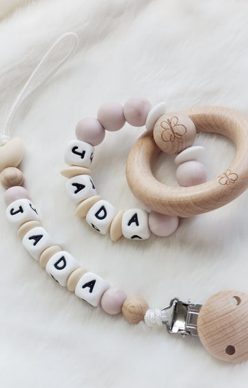 Beautiful Baby Keepsake Personalized Gift Set - Pacifier Clip & Teething Rings