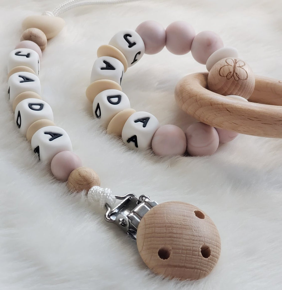 Beautiful Baby Keepsake Customized Gift Set - Pacifier Clip & Teething Rings