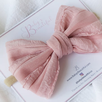 Pretty Layered-Puff Bow Headband in Dusty Rose