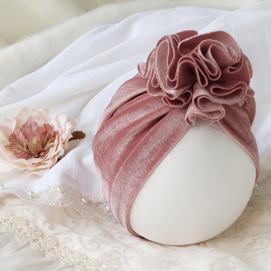 Beautiful Velvet Baby Turban with Ruffle Rose - Deep Dusty Mauve