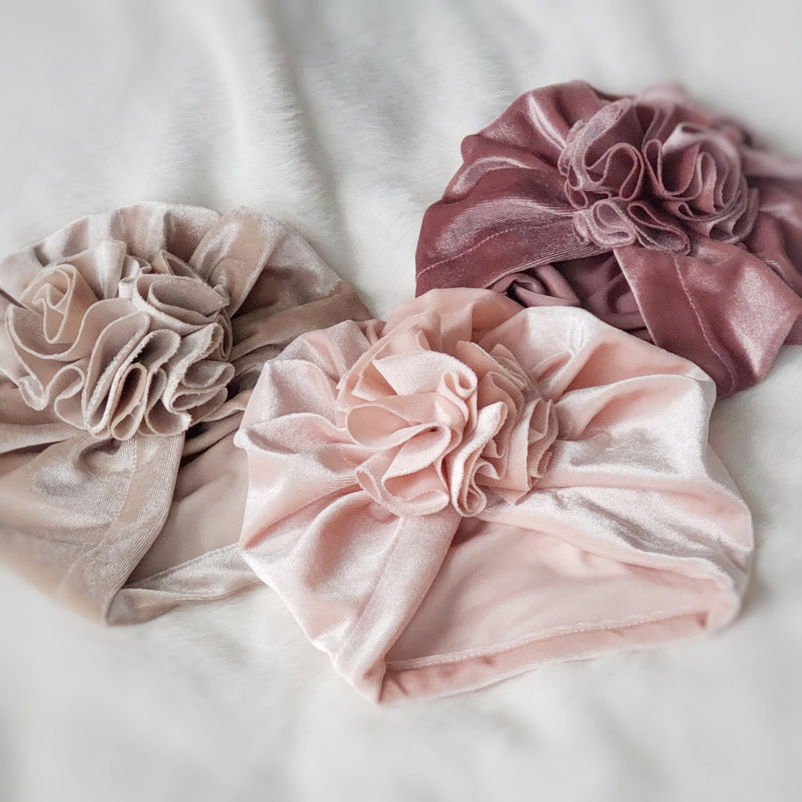 Beautiful Velvet Baby Turban with Ruffle Rose - Taupe