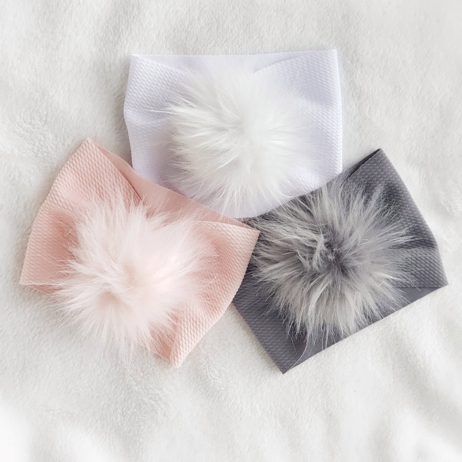 Lovely Fur Pom Pom Baby Headwrap - Pink Ice