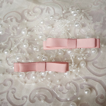 Cutie Classic Ribbon Clips Set of Two - Muted Blush