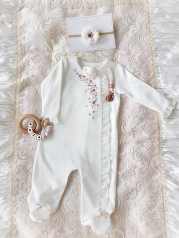 Sleep & Play Suit ~ Cotton with Ruffles & Floral Embroidery