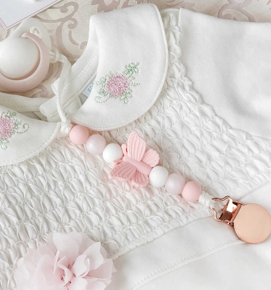 Aria Beautiful Butterfly Pacifier Clip - Pretty Pink