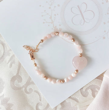 My Sweet Heart - Love, Protection, Calming & Soothing Rose Quartz & Mother of Pearl with 14Kt Rose Gold fill