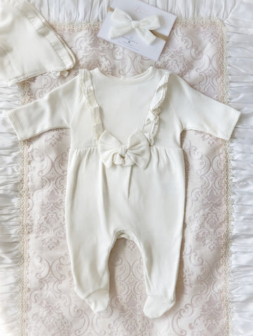 Newborn Baby Coming-Home / Sleep Suit & Bonnet Set ~ Softest warm Creamy Cotton