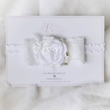 Sweet Innocence Rose & Butterfly Headband