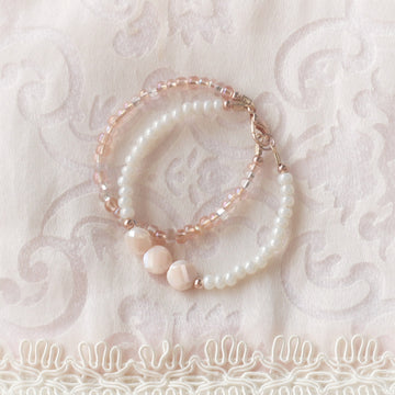 Rose Gold Blush Shimmer Princess Bracelets - 14Kt Rose Gold Fill