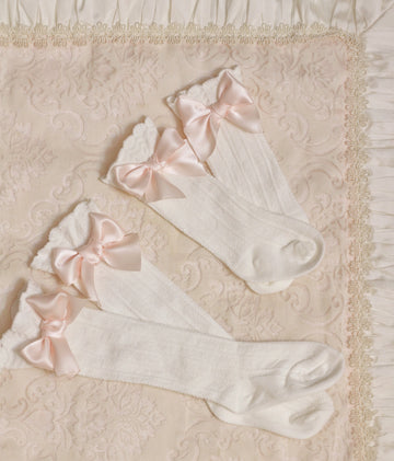 Sweet Satin Bow Over-the-Knee Socks for Baby & Toddler - White & Baby Pink
