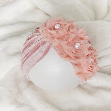 Pretty Velvet Baby Turban with Pearl Centered Roses - Pretty Peachy