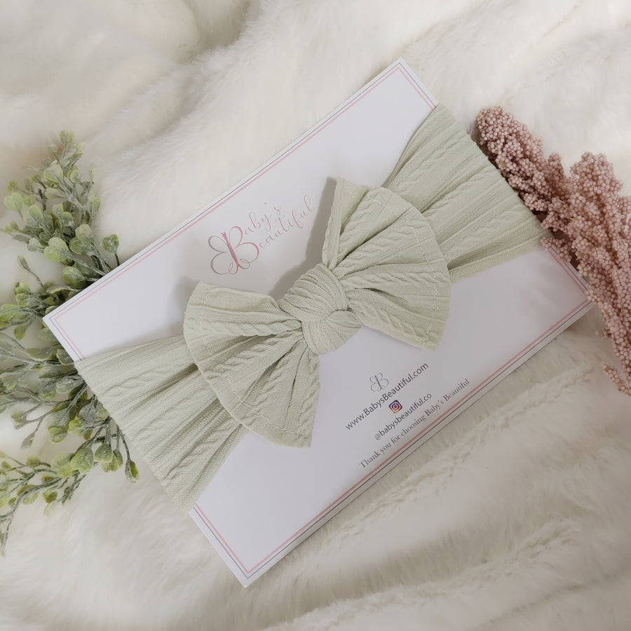 The Silky Soft Cable Baby Bow - Soft Pale Green