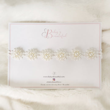 Baby Lace & Pearl Flower Halo Headband