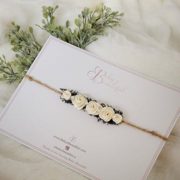 Forest Garden Rose Headband Tie Back