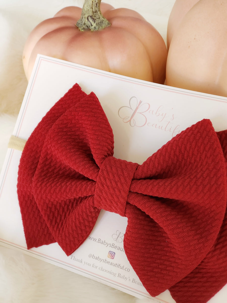 Double Layer Bow Wine Red Headband