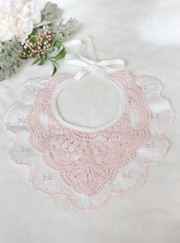 Vintage Pink European Style Embroidered Cotton Lace Collar Bib - fuller front style