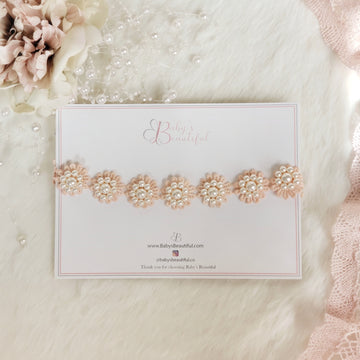 Baby Lace & Pearl Flower Halo Headband in Soft Peach