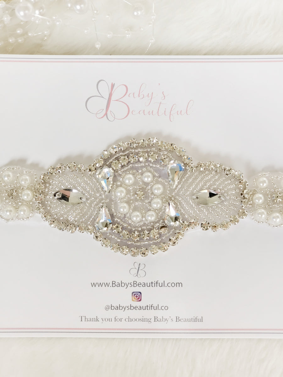 Sparkle Diamante & Pearl Headband - for photography