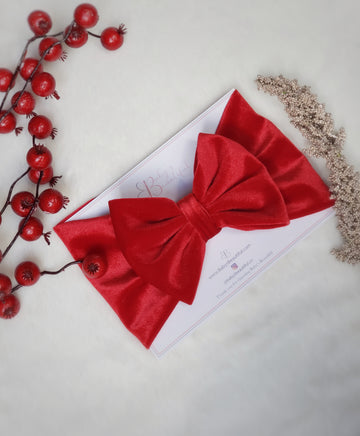 Luxuriously Soft Velvet Bow Headwrap - Holiday Red