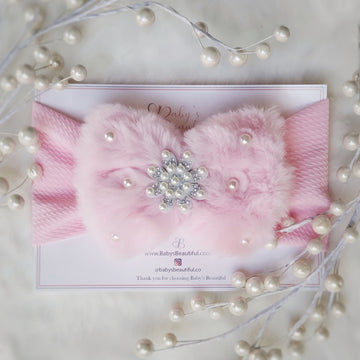 Stunning Snow Princess Fur Baby Headwrap with Pearls & Diamonds - Ice Pink
