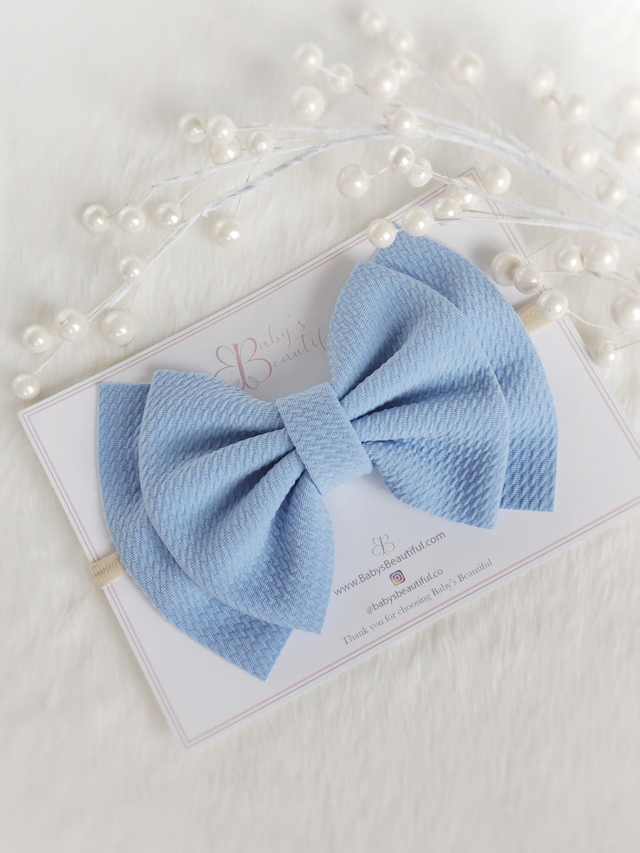 Double Layer Bow Headband ~ Soft Ice Blue