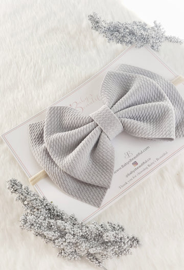 Double Layer Bow Headband ~ Soft Cloud