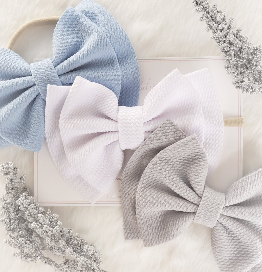 Double Layer Bow Headband ~ Winter White