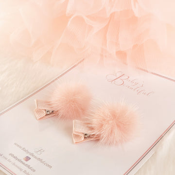 Cutie Pom-Pom Hair Clips Set of Two - Peachy Puff