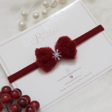 Sweet Little Red Fur & Pearl Snowflake Baby Bow Headband