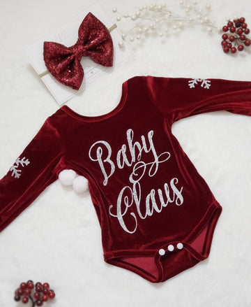 Baby Claus & Snowflake Stretch Velvet Leotard