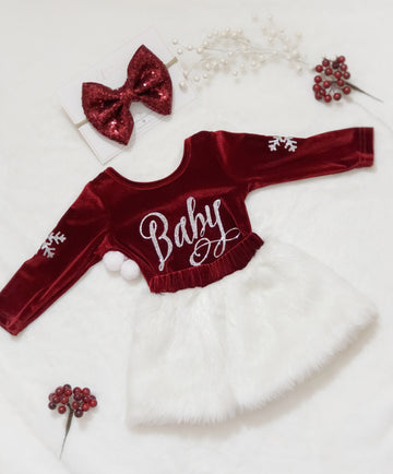Santa Baby Claus White Fur Skirt