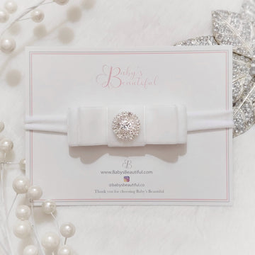 My Little Princess Diamond and Velvet Layered Bow Headband ~ Pure White
