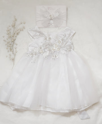 Beautiful White Satin & Tulle Gown