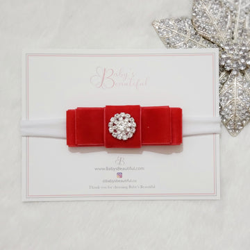 My Little Princess Diamond and Velvet Snowflake Layered Bow Headband ~ Holiday Red