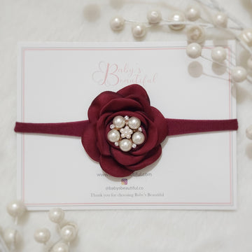 Beautiful Deep Red Satin Rose with Pearls & Diamond Headband