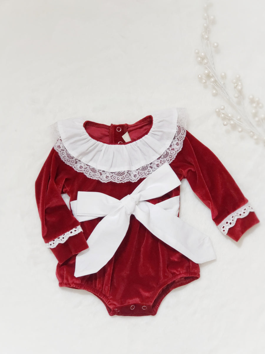 Beautiful Classical European Style Red Velvet & white Cotton Holiday Romper