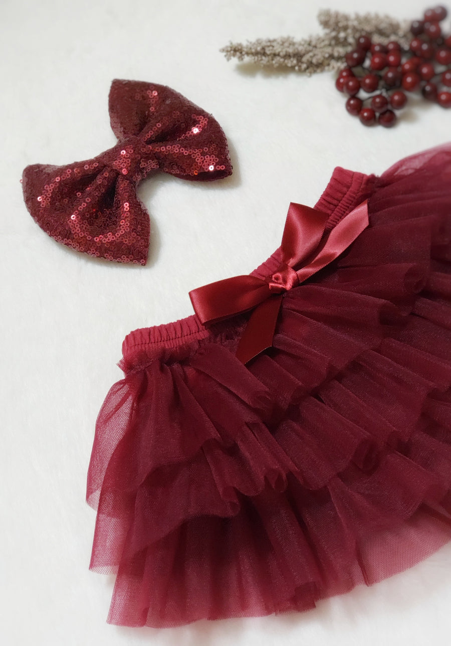 Cotton & Tulle Tiered Tutu Bloomers with Satin Bow - Deep Red