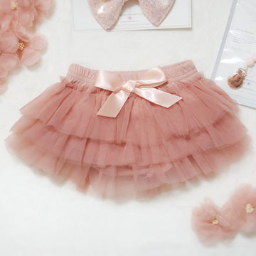 Cotton & Tulle Tiered Tutu Bloomers with Satin Bow - Perfectly Peachy