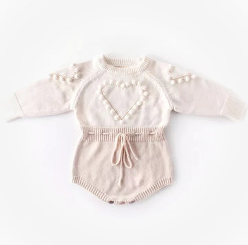 My Sweet Heart - Pure Cotton Knitted Popcorn Romper